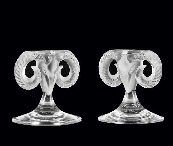 346: PR OF LALIQUE MOLDED, FROSTED & CLEAR RAM'S HEADS