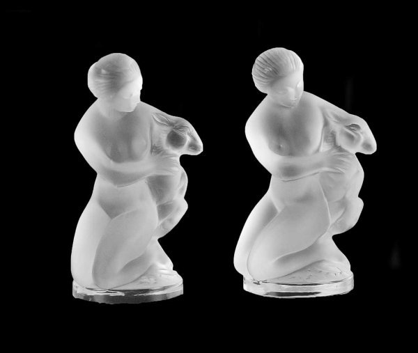 2: PAIR OF LALIQUE MOLDED AND FROSTED CRYSTAL FIGURES