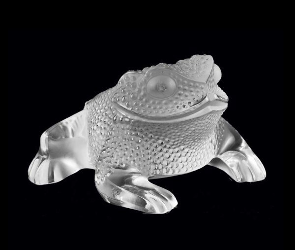 """3: LALIQUE MOLDED AND FROSTED CRYSTAL """"GREGOIRE"""" TOAD"""