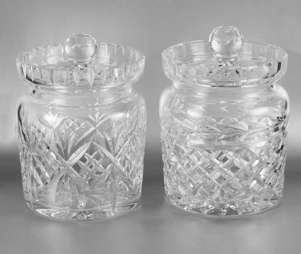 18: PAIR OF WATERFORD CUT CRYSTAL BISCUIT BARRELS AND C