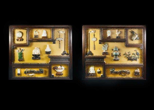 199: GOOD PAIR OF JADE OVERLAID SHADOW BOX WALL PLAQUES