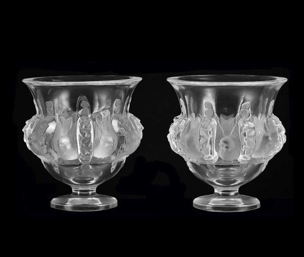 "301: PAIR LALIQUE MOLDED, FROSTED AND CLEAR ""DAMPIERRE"""