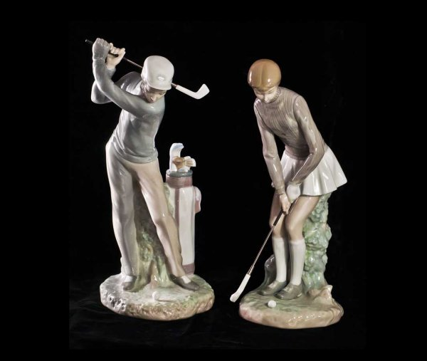309: PAIR OF LLADRO PORCELAIN FIGURES OF GOLFERS