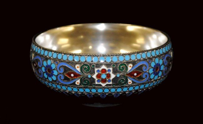 3: RUSSIAN SILVER AND ENAMEL BOWL
