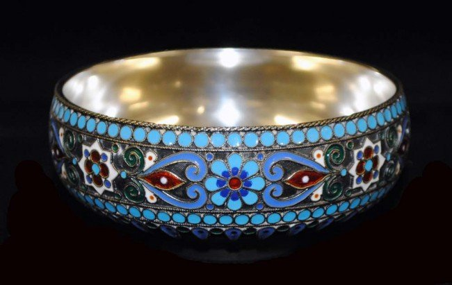 3: RUSSIAN SILVER AND ENAMEL BOWL - 2