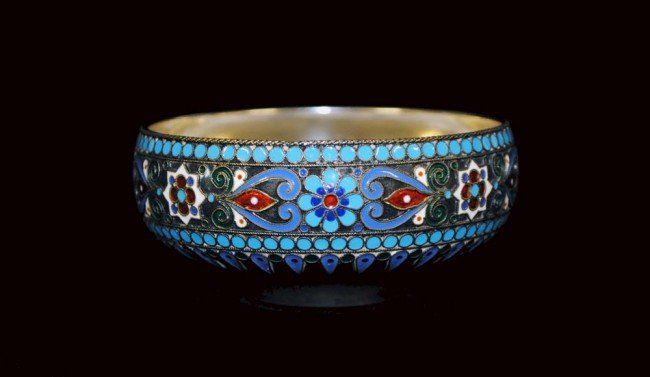 3: RUSSIAN SILVER AND ENAMEL BOWL - 3