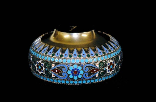 3: RUSSIAN SILVER AND ENAMEL BOWL - 4