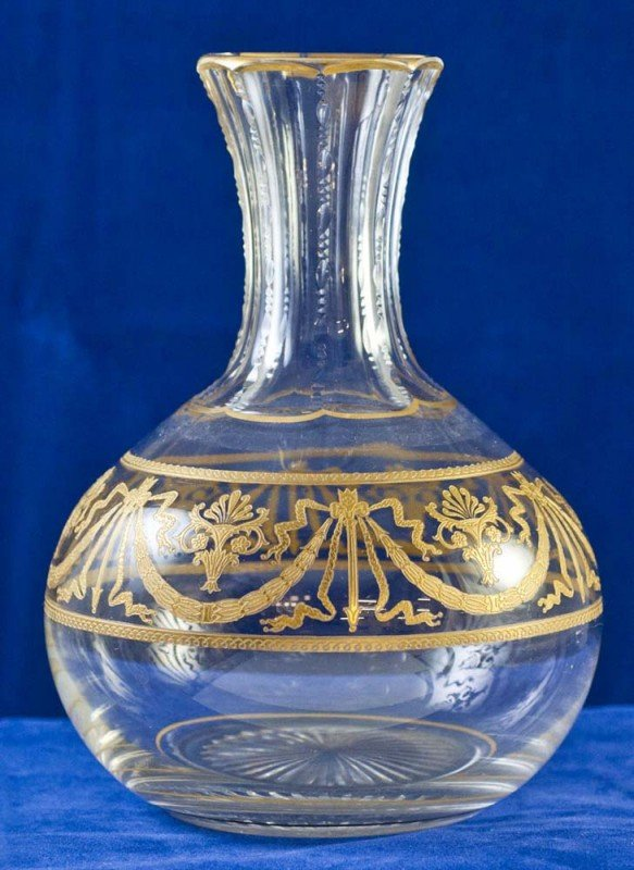 18: PAIR OF GILT ENAMELED GLASS BOTTLES