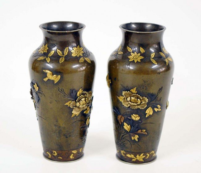 305: FINE PAIR OF PATINATED AND GILT BRONZE BUD VASES