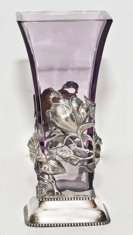 307: ART NOUVEAU STERLING SILVER MOUNTED AMETHYST GLASS