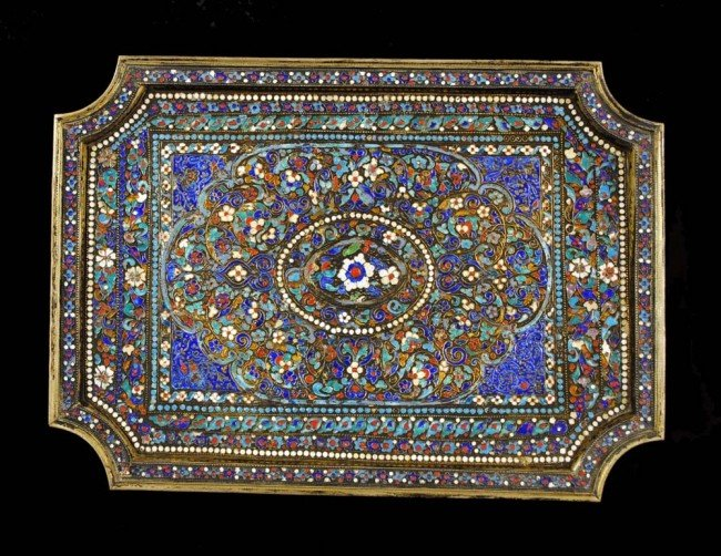 371: PERSIAN SILVER AND ENAMEL TRAY