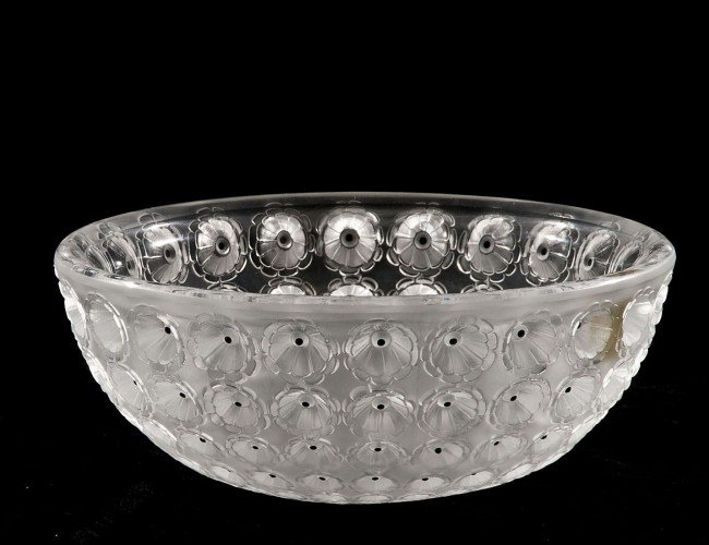 "1: LALIQUE MOLDED AND FROSTED CRYSTAL ""NEMOURS"" BOWL"