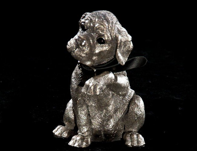 3: SILVER CLAD FIGURE OF A HOUND DOG PUPPY
