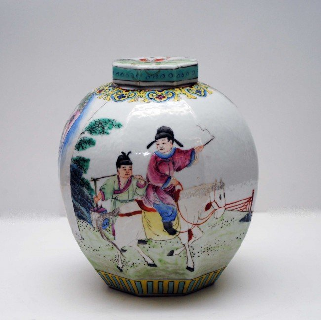 7: FAMILLE ROSE PORCELAIN JAR AND COVER