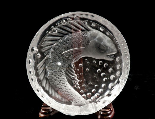 "11: LALIQUE MOLDED & FROSTED  ""CONCARNEAU"" ASHTRAY"