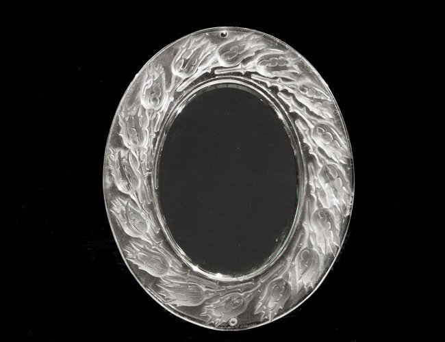 12: LALIQUE MOLDED CRYSTAL TABLE MIRROR