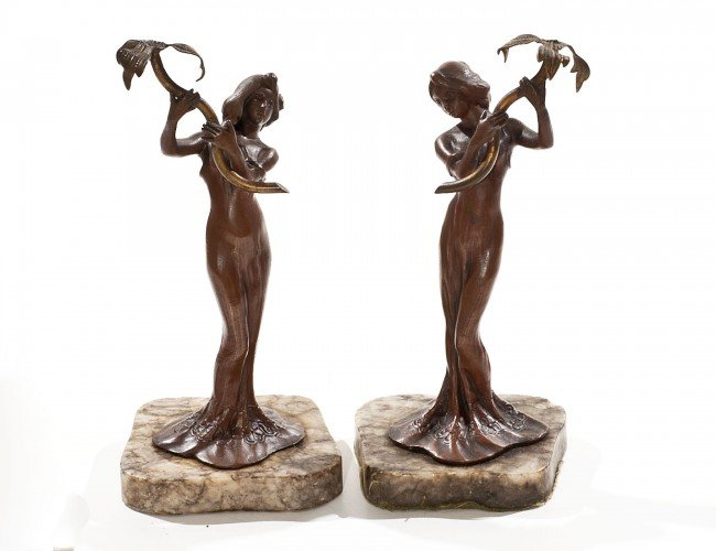 13: PAIR OF PATINATED BRONZE FIGURES