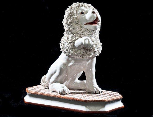 15: BASSANO POTTERY FIGURE OF A LION
