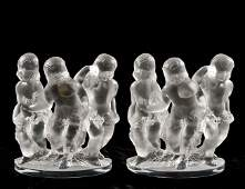 222 PR LALIQUE MOLDED  FROSTED LUXEMBOURG GROUPS