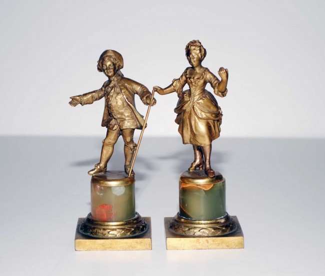 2: PAIR OF GILT BRONZE AND ONYX FIGURES