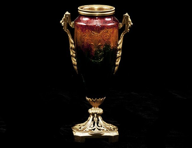 3: CONTINENTAL GILT BRONZE AND ENAMEL VASE