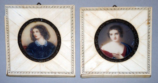 8: PAIR OF MINIATURE PORTRAITS ON IVORY