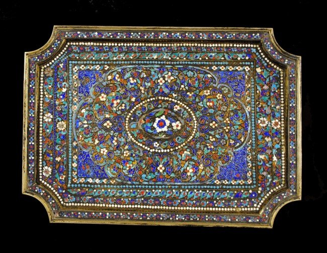 71: PERSIAN SILVER AND ENAMEL TRAY