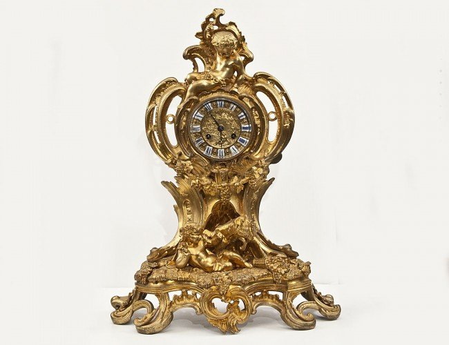 100: SUPERB GILT BRONZE MANTEL CLOCK