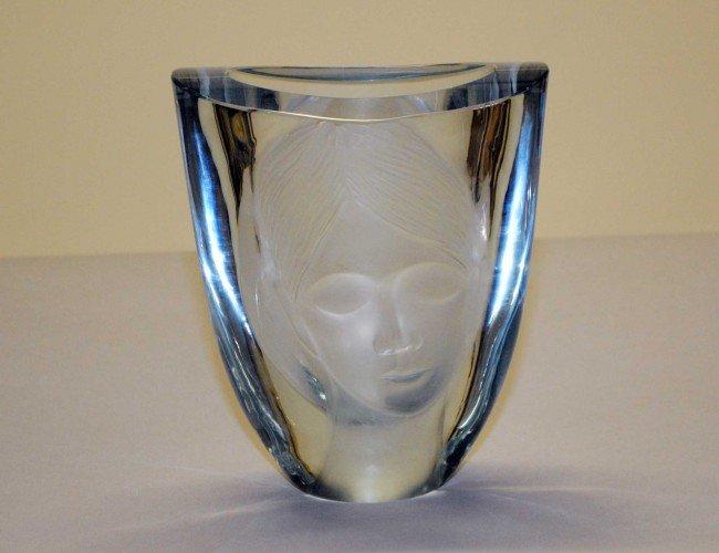"301: STROMBERGSHYTTAN THICK GLASS ""FACE"" VASE"