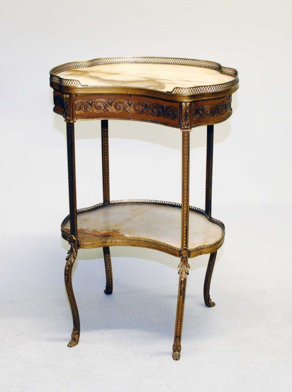 320: LOUIS XV STYLE GILT BRONZE SIDE TABLE