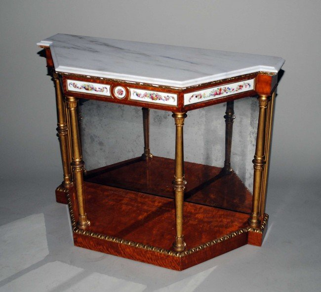 322: EMPIRE STYLE MARBLE TOP CONSOLE TABLE