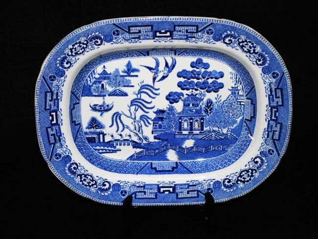 "11: RIDGEWAY BLUE AND WHITE POTTERY ""WILLOW"" PLATTER"