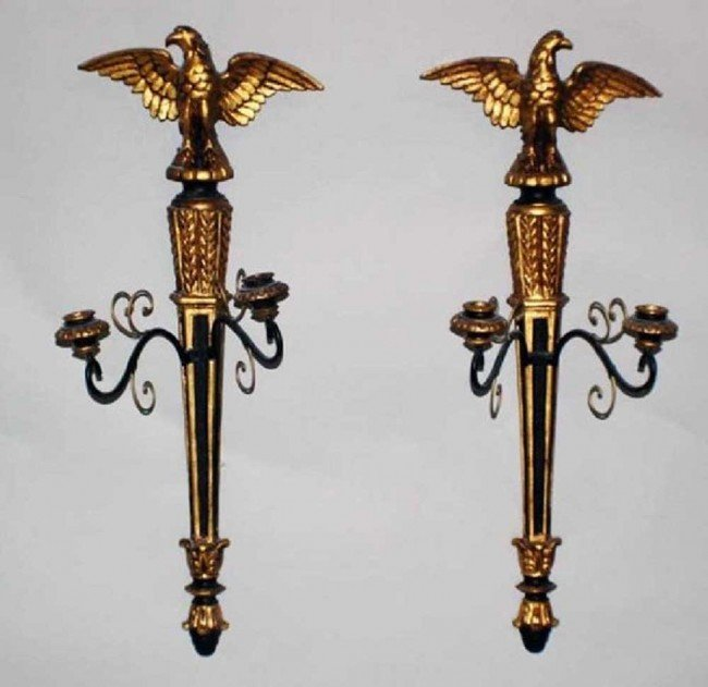 13: PAIR GEORGE III STYLE GILT AND EBONIZED TWO LIGHT S