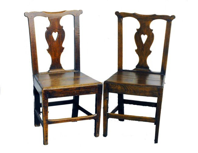 15: PAIR OF GEORGIAN STYLE OAK SIDE CHAIRS