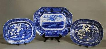 140 STAFFORDSHIRE BLUE AND WHITE POTTERY PLATTER