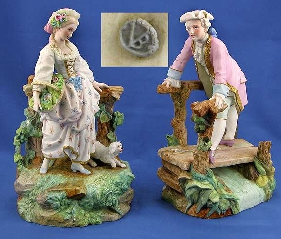 2: Two Chantilly Bisque Figures
