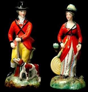 20th C Pr of Old Paris Style Porcelain Figurines