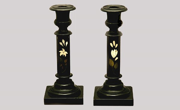 6: Pair of Pietra Dura Candlesticks