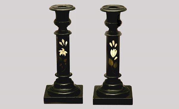 6: Pair of Pietra Dura Candlesticks