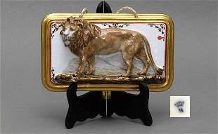 Capodimonte Bas-Relief Porcelain Lion Plaque