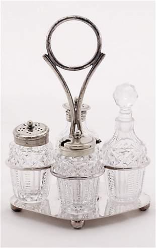 English Silverplate Style Glass Caster Set
