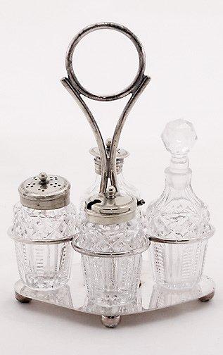 13: English Silverplate Style Glass Caster Set