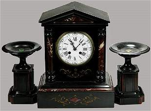 19th Century French 3 Piece Marble Clock Set