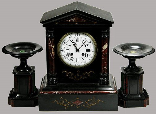 17: 19th Century French 3 Piece Marble Clock Set