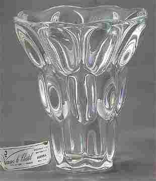 Unusual Signed Crystal Vase
