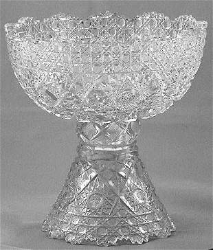Small Cut Glass Punch Bowl and Stand