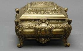 Continental Figural Brass Jewelry Casket