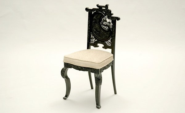 95: Black Lacquered Oriental Chair