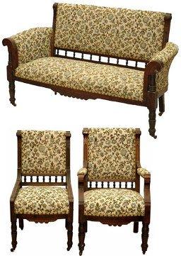 97: Three Piece Walnut Eastlake Parlor Set