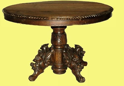 98: Antique English Oak Carved Oval Table
